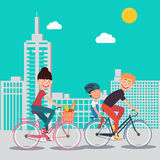 Happy Family Riding Bikes in the City. Woman on Bicycle. Father and Son. Vector illustration Royalty Free Stock Photos