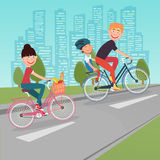 Happy Family Riding Bikes in the City. Woman on Bicycle. Father and Son. Vector illustration Stock Photography