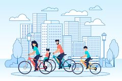 Happy Family Riding Bikes on Cityscape Cartoon. Mother and Daughter on Children Trunk Seat, Father and Son Have Active Vacation, City Trip, Healthy Leisure vector illustration