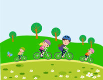 Happy family riding bikes stock illustration