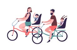Happy family riding tandem bicycles or bicycling. Cute smiling mother, father and children on bikes. Parents and kids vector illustration