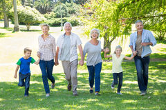 Happy family running in the park Royalty Free Stock Photography