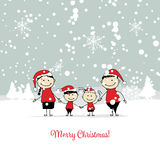 Happy family with santa hats. Christmas card. Santa Claus with Rooster, symbol of 2017. Christmas card. Vector illustration Royalty Free Stock Photography