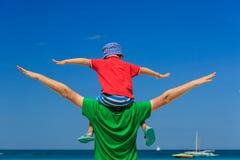 Happy family on sea vacation Stock Photo
