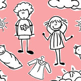 Happy family Seamless Pattern. Doodles of happy family (seamless pattern), vector illustration Royalty Free Stock Photos