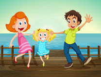 A happy family at the seaport. Illustration of a happy family at the seaport Stock Photography