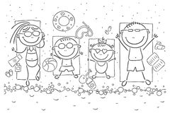Happy family at the seaside. A happy family at the seaside vector illustration