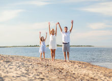 Happy family at the seaside Royalty Free Stock Images