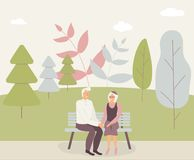 Happy family seniors: cute smiling elderly man and woman hold hands and sit on bench in park. Retired elderly couple in love.Trees stock illustration