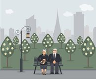 Happy family seniors: cute smiling elderly man and woman with pug are sitting on bench in park. Retired elderly couple in love. vector illustration