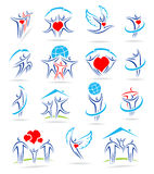 Happy family set of icons and. This is file of EPS8 format royalty free illustration