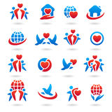 Happy family set of icons and label Stock Photo