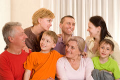 Happy family of seven Stock Photo