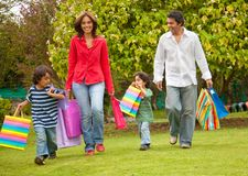 Happy family shopping Stock Images