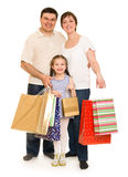 Happy family with shopping bag Stock Photos