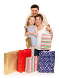 Happy family with shopping bag Stock Images