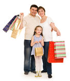 Happy family with shopping bag Royalty Free Stock Photos
