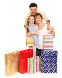Happy family with shopping bag Stock Image