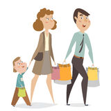 Happy family with shopping bags. Funny cartoon characters. Stock Photos