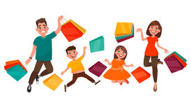 Happy family shopping. Mother, father, son and daughter are jump. Ing holding packages with purchases. Element for advertising big sales. Vector illustration in royalty free illustration