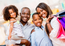 Happy family shopping Stock Photo