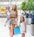 Happy family on shopping in the store Royalty Free Stock Image