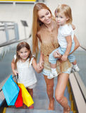 Happy family on shopping in the store Stock Photos