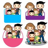 Happy family sign. Father mother son and daughter badge sign family concept design stock photography