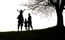 Happy family, silhouette Stock Image