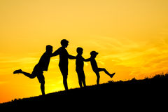 Happy family silhouette Royalty Free Stock Image
