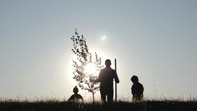 A happy family of farmers. Silhouette of a father and two children planting and watering a tree in the Park at sunset. stock video