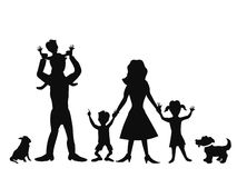 Happy family silhouettes. Silhouettes of happy family on white background Stock Photography