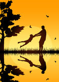 Happy family. Silhouettes of a happy family of the father and the child, illustration Royalty Free Stock Photography