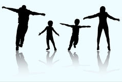 Happy family silhouettes Royalty Free Stock Image