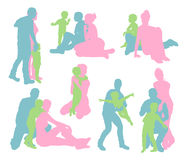 Happy family silhouettes Royalty Free Stock Photography