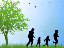 Happy family silhouettes Royalty Free Stock Images