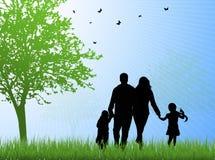 Happy family silhouettes Royalty Free Stock Photos