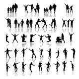 Happy Family Silhouettes . Vector Stock Image