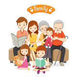 Happy Family Siting on Sofa and Floor Stock Photos