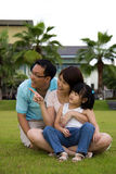 Happy family sits on grass field. Happy family of three sits on green grass field Stock Images