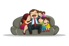 Happy Family sitting in Couch Royalty Free Stock Photos