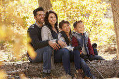 Happy family sitting on fallen tree in a forest looking away Stock Photo