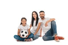 Happy family sitting with football isolated