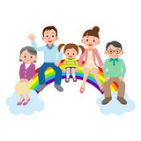 Happy family sitting on the rainbow Royalty Free Stock Photo