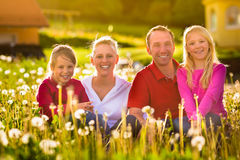 Happy family sitting in summer meadow Royalty Free Stock Photo