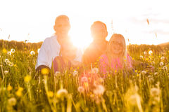 Happy family sitting in summer meadow Royalty Free Stock Images