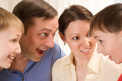 Happy family of six Stock Photos
