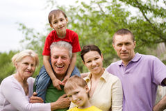Happy family of six Royalty Free Stock Photos