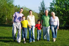 Happy family of six. On the nature Stock Image