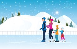 Happy family skating on ice rink on Cityscape landscape. Happy family skating on ice rink on Cityscape landscape background scene with snowy. Winter sport and Royalty Free Stock Image